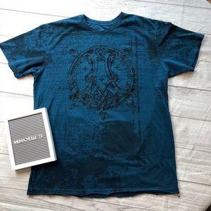 Affliction Mens Size Large Blue Wing Back T-Shirt